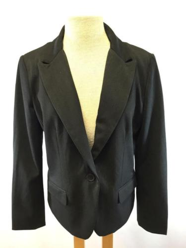 womens charcoal EXPRESS blazer jacket one button modern career stretch LARGE 14