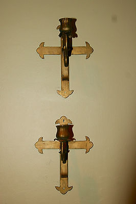 Antique Pair Spanish Religious Gold Gothic Church Altar Crosses Candle Sconces