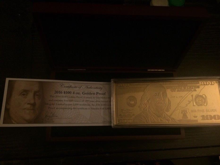 Gold Plated $100 bill w/ Certificate and Case