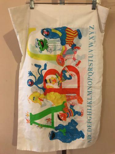 Vintage SESAME STREET ABC Pillowcase MUPPETS GROVER COOKIE MONSTER OSCAR Fabric