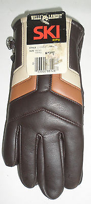 New Vintage Wells Lamont Winter Gloves in Original Packaging Brown Retro Stripes
