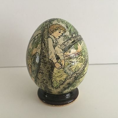 Anne Easley Hand Painted Goose Egg BOY CLIMBS TREE, Mint w/Stand