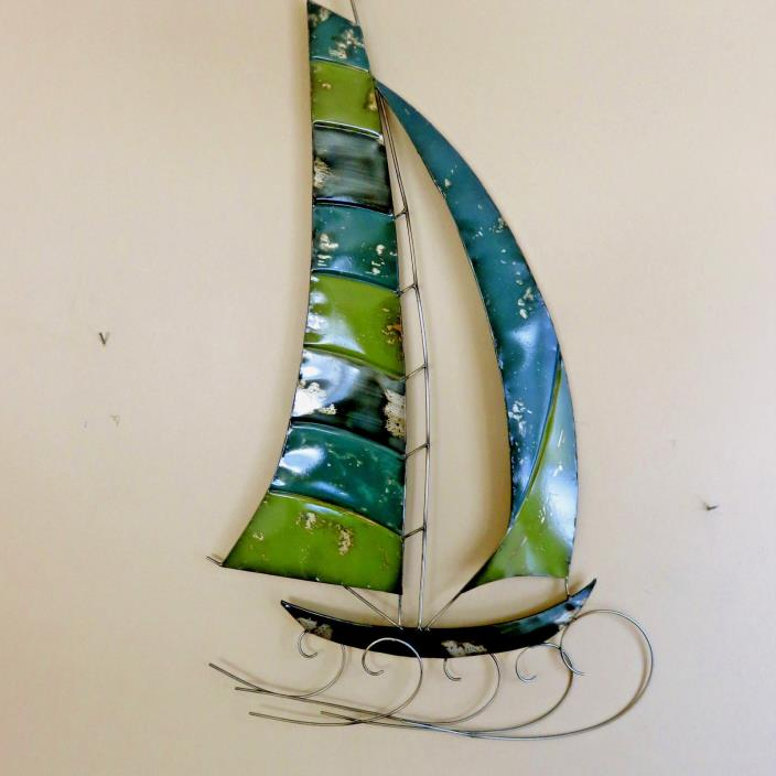 SAILBOAT  BOAT WALL PLAQUE DECOR SEASIDE NAUTICAL WALL ART  32 IN. X 19 IN. NEW