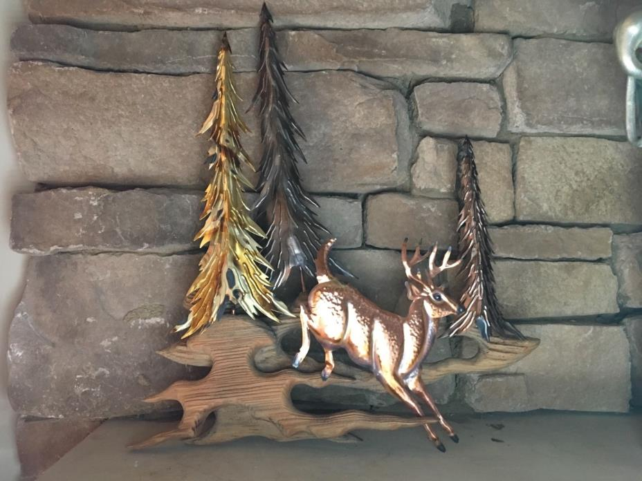 Vintage Wood Copper & Tin Forest Scene 3 D Wall Sculpture - Pine Trees & Deer