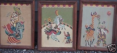 vintage paint by numbers circus act clowns three paintings set colorful framed