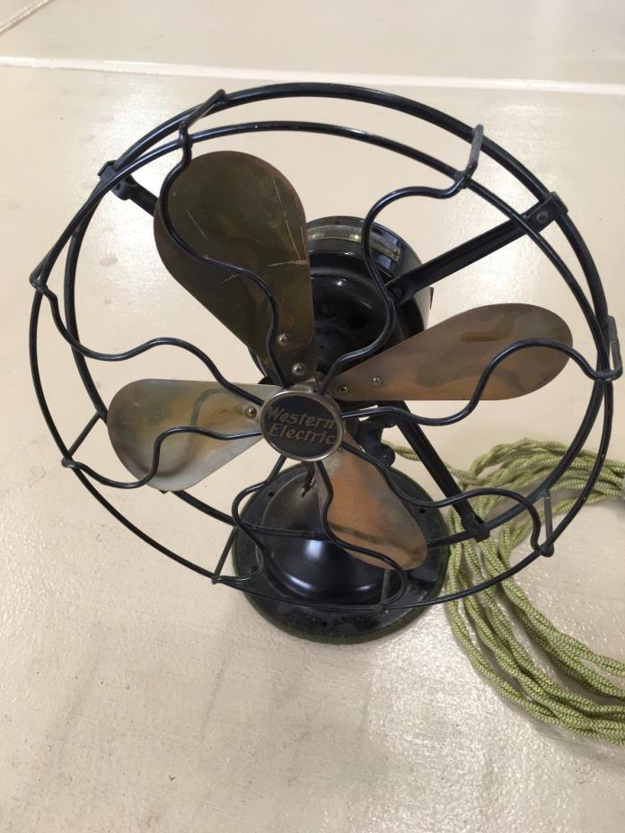 Vintage Western Electric 10 Inch Brass Blade Oscillating Table Fan