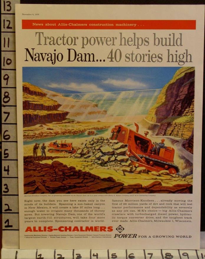 1958 ALLIS CHALMERS CONSTRUCTION BULLDOZER NAVAJO DAM MILWAUKEE  2308123081