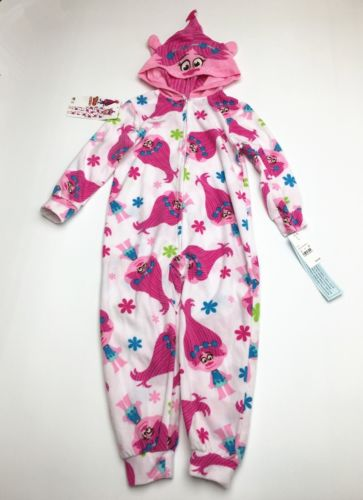 NWT Dreamworks Trolls Hooded Pajama Footless Onesie Zip Front Sold Out Sz Small