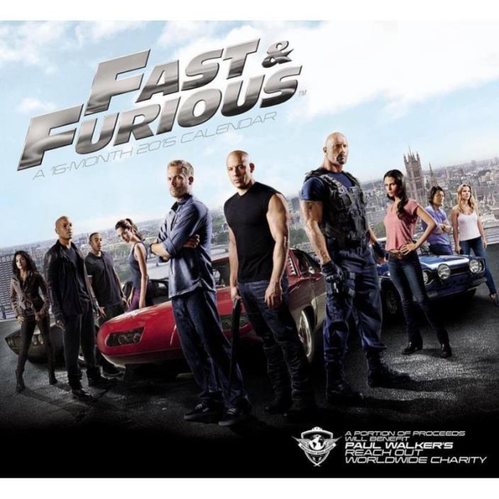 1 X The Fast and the Furious 2015 Wall Calendar