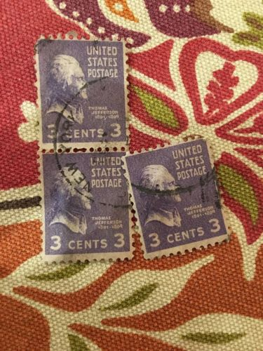Used 3 cent Thomas Jefferson Issue Stamp LOT Of 3