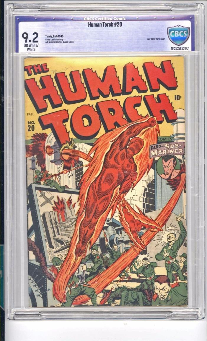HUMAN TORCH #20  CBCS  9.2 SCHOMBURG WAR COVER!  OW/WHITE PAGES  BEAUTIFUL COPY!