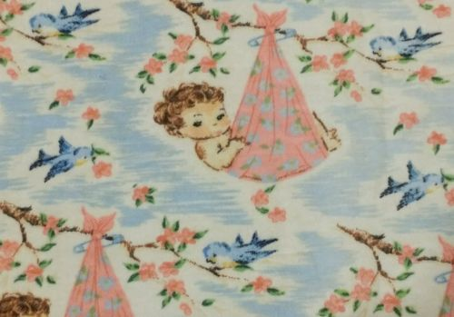 Vintage Nursery Baby Fabric Child With Birds 50s 40s Retro Sew