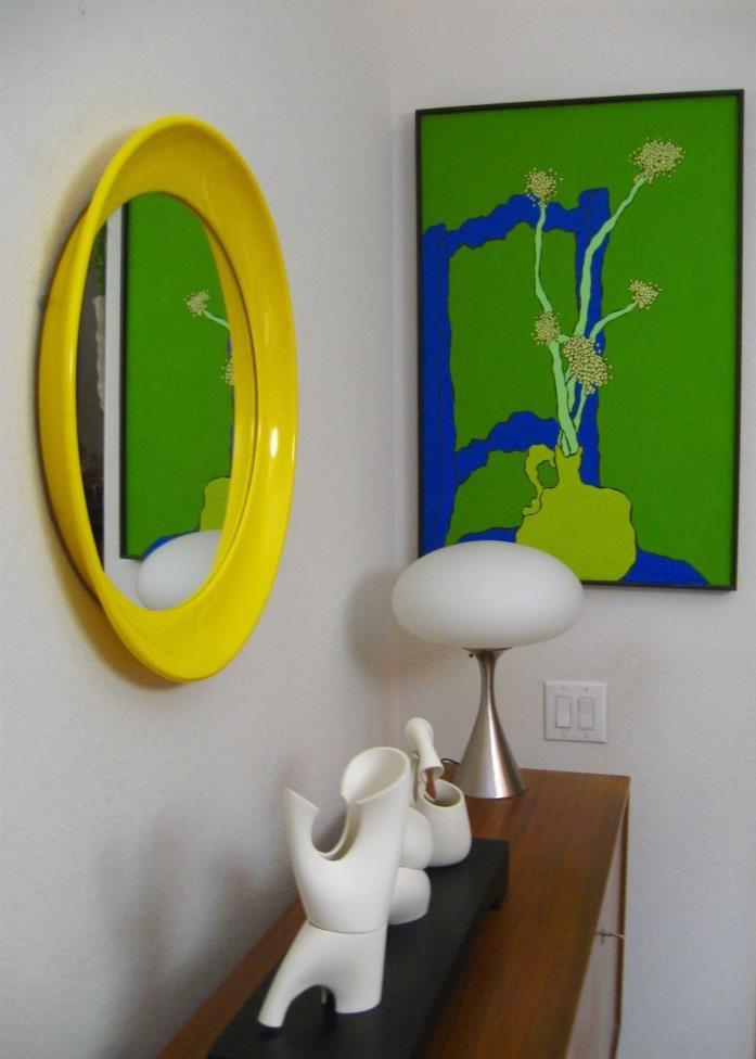 Large Vintage Mid Century Modern ABS Oval MOD Wall Mirror Kartell Panton era 70s