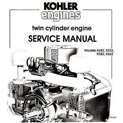 Kohler K482  K532  K582  K662 Twin Cylinder Service Manual bonus 19 in 1 CD