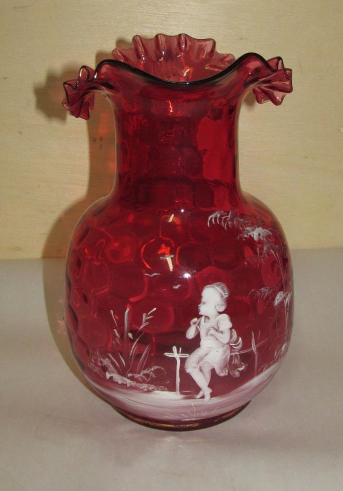 Antique Mary Gregory Art Glass Cranberry Pitcher