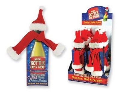 Santa's Bottle Cap N' Wrap Wine Bottle Santa's Hat & Scarf