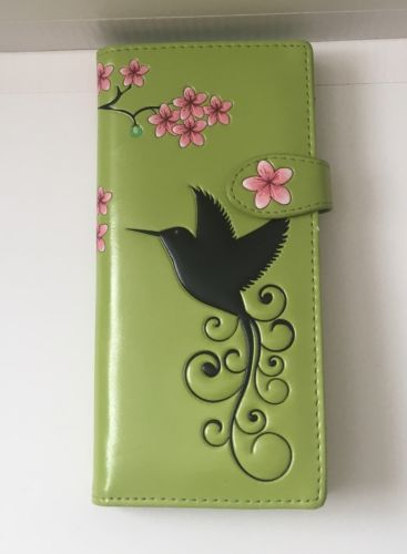 Shagwear  Women's Large Wallet Black Hummingbird Lime Green, Pink Flowers NWOT