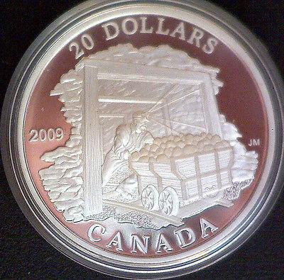 2008 Canada $20 Coal Mining Trade .9999 1oz Silver Proof Coin-w/ Box & COA