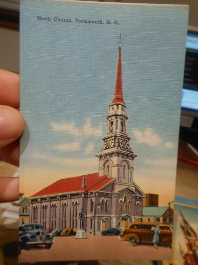 Vintage Old NEW HAMPSHIRE Postcard Portsmouth North Church Traffic Light Cars