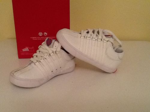 INFANT SIZE 5 W K-SWISS WHITE ATHLETIC SHOES