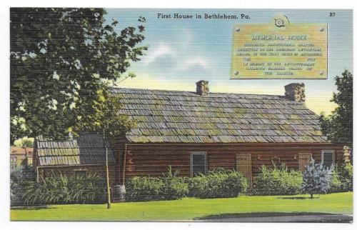 BETHLEHEM PENNSYLVANIA First House Unposted Linen  Post Card #1485