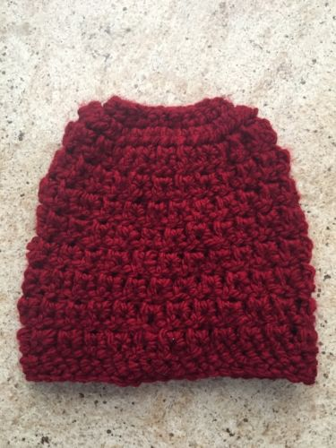 Crochet Messy Bun Hat Beanie Deep Red Burgundy