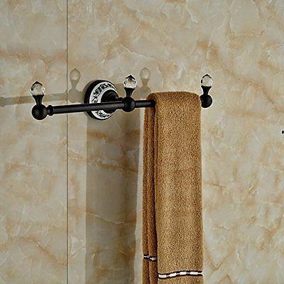 Luxury Crystal Deco Bath Towel Bar Wall Mounted Towel Rac Hanger (Oil Rubbed