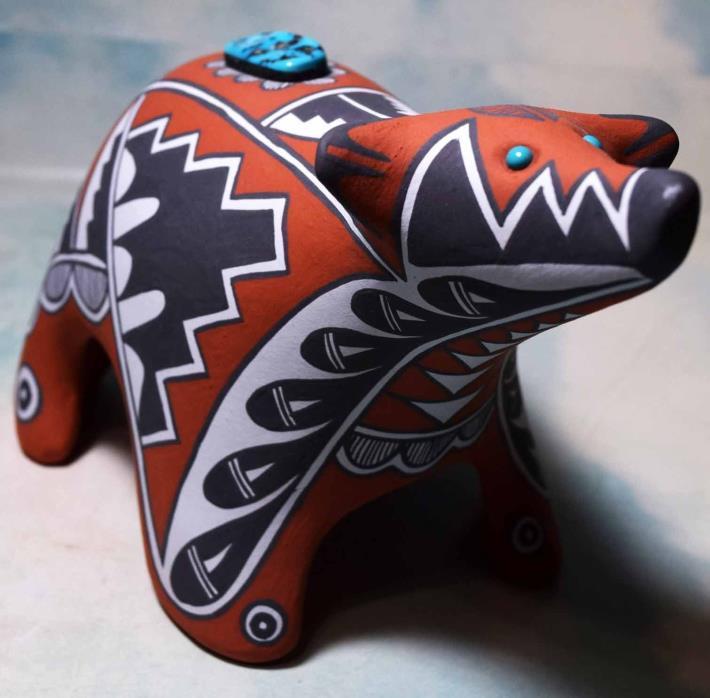 JEMEZ PUEBLO POTTERY BEAR by MARY SMALL ARTIST OF THE YEAR IACA 2002 & 2010