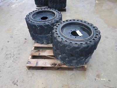 Air Boss Solid Rubber Industrial Tires For Skid Steer Loader, 8 Lug, Low Use!!