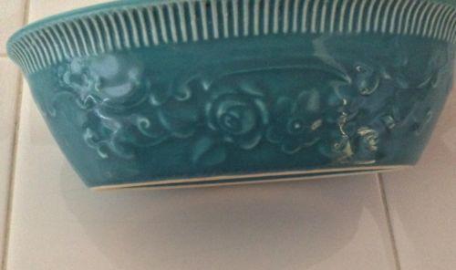 Vintage Homer Laughlin Embossed Blue Oven Serve Ware Bowl Dish Casserole USA
