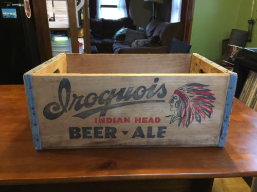 VINTAGE IROQUOIS INDIAN HEAD BEER ALE CRATE BOX BUFFALO NY