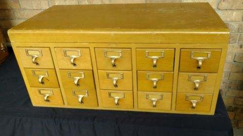 VINTAGE CARD CATALOG LIBRARY 9 File DRAWERS