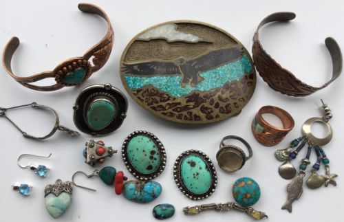 Damaged Ethnic Jewelry ,copper,925,Sterling,turquoise~ Artist Lot