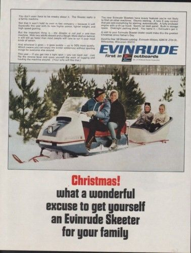 1967 EVINRUDE SKEETER SNOWMOBILE CHRISTMAS WINTER AD 9408