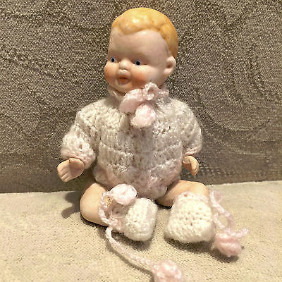 Little 40s 50s Vintage Antique Porcelain Baby Doll Hand Crocheted Outfit