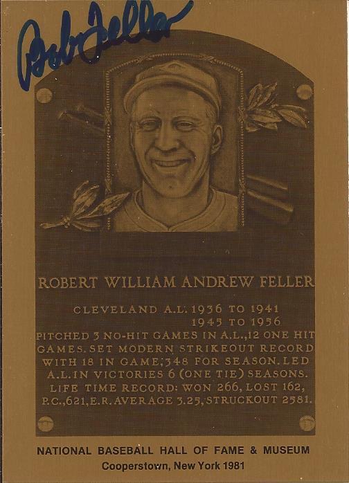 Bob Feller signed Metallic HOF plaque