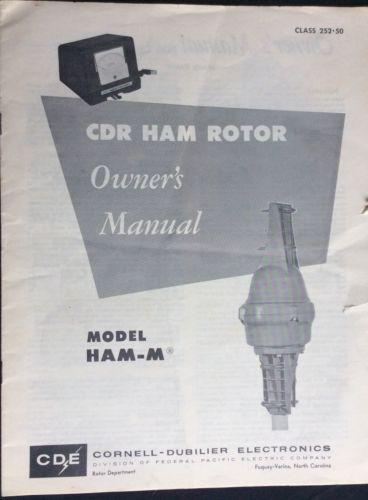 Rare Original Factory CDE HAM-M Antenna Rotor System Owner's Manual CB HAM TV