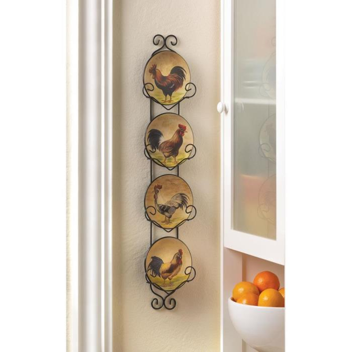 Gift Set of 4 Chicken Rooster Collectors Plates Hanging Wall Display Rack Decor