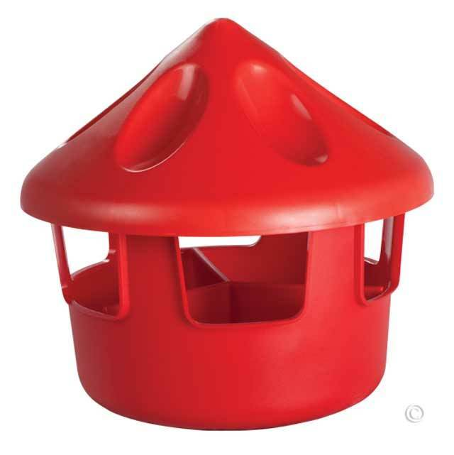POLY COVERED GRIT & OYSTER SHELL FEEDER. KEEPS THE TRASH OUT! HOLDS 6-7 LBS