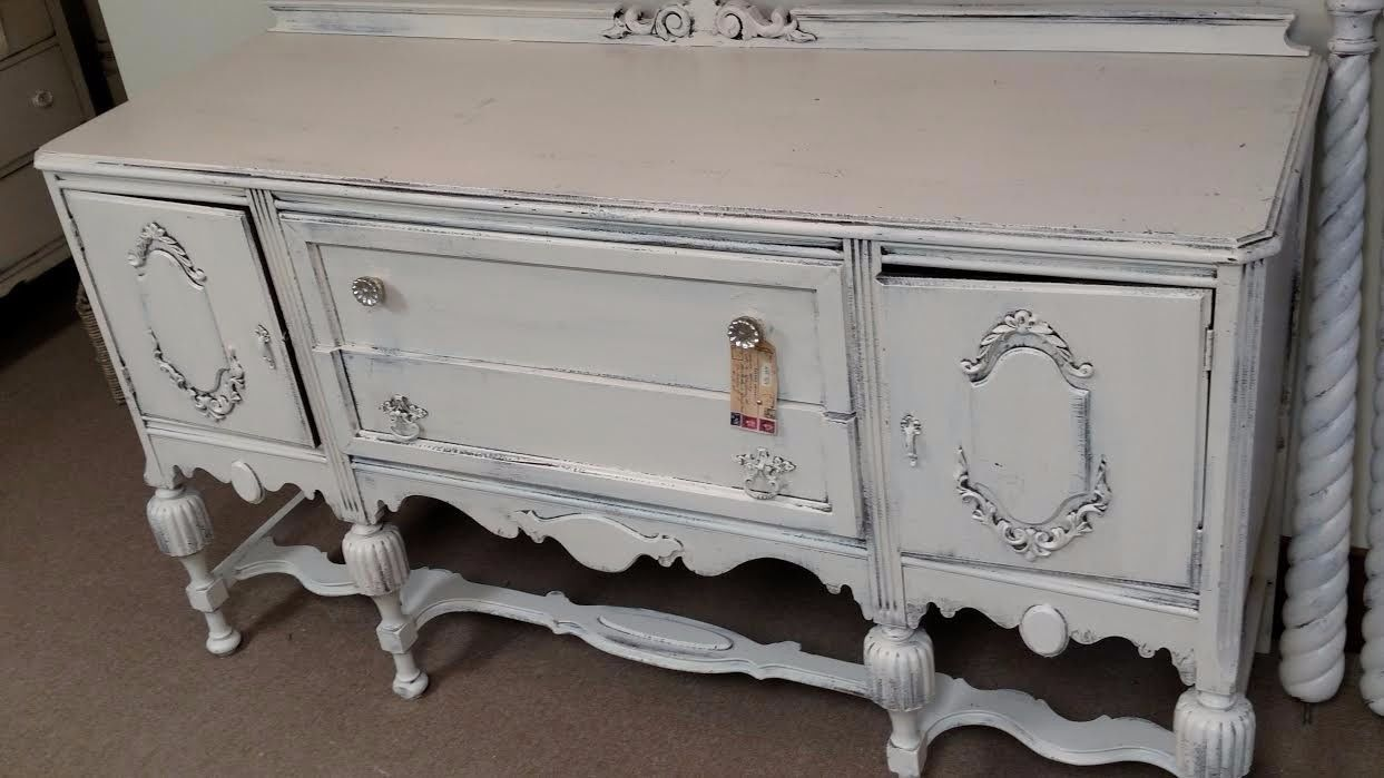 Beautiful Buffet that has been restored to an attractive soft white color.