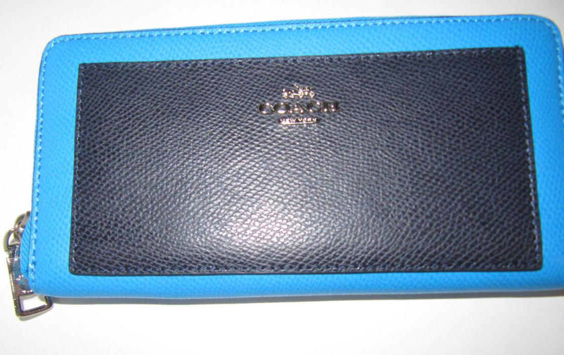 Coach Accordion Zip Around Wallet Azure Blue Colorblock Leather F53838 NWT $265