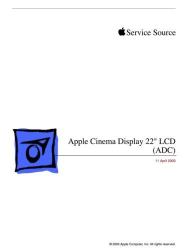 Apple Technician Service .PDF Manual for Apple Cinema Display 22