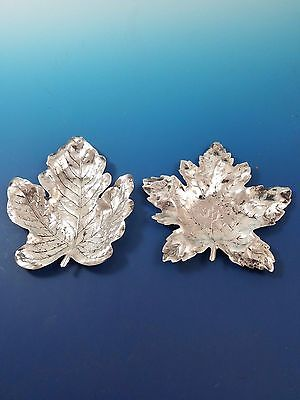 2 Sterling Silver Decorative Leaves #1084