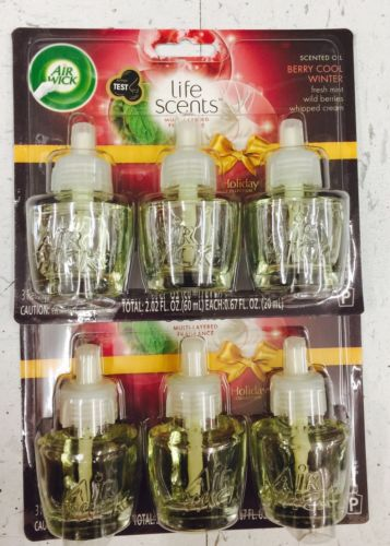 6 Air Wick Scented Oil Refills Life Scents Fragrance Berry Cool Winter Holiday