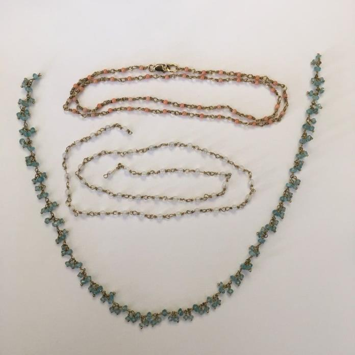 lot of 3 gold fill wire wrap necklace rosary chain coral moonstone blue topaz