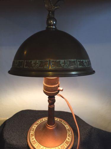 ANTIQUE ARTS CRAFTS GREIST (?) COPPER DESK WALL LAMP HELMET SHADE OAK LEAF EAGLE