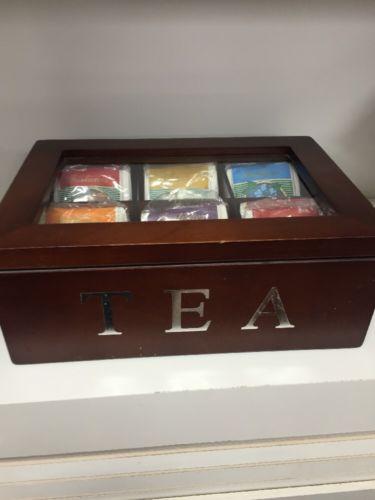 Tea Caddy Box  With 6 Flavor Teas Wood Desktop Keepsake