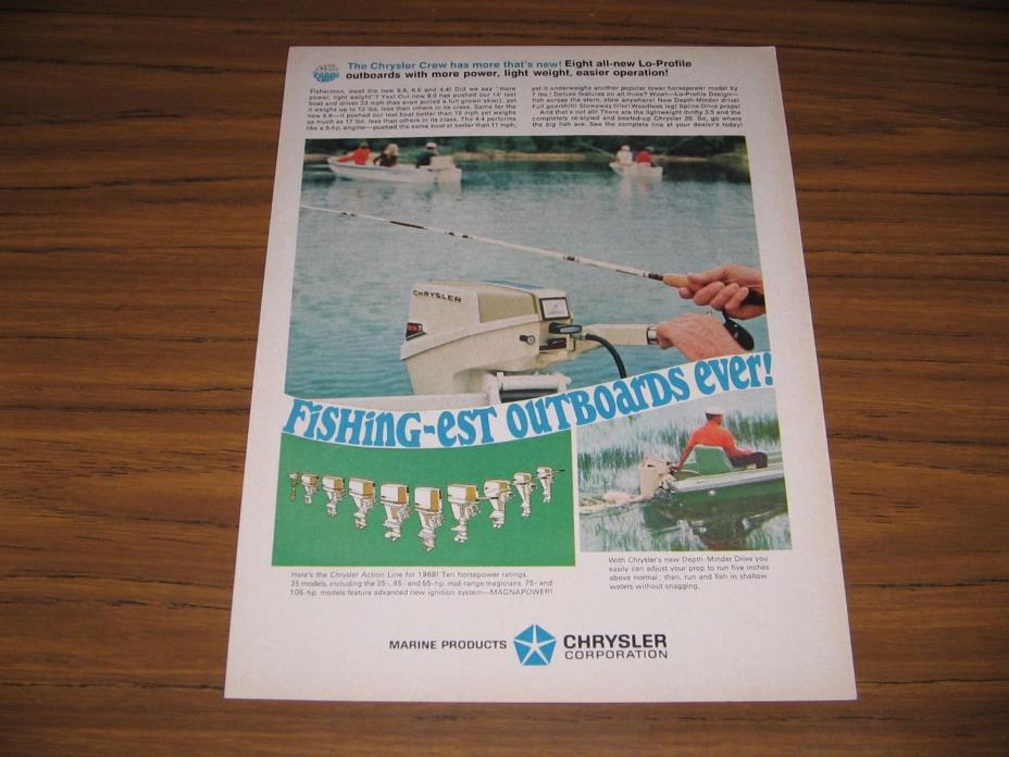 1968 Print Ad Chrysler 9.9 HP Outboard Motors Depth Minder Drive
