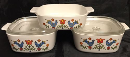 Country Festival Corning Ware Lot Of 3 Baking Dishes