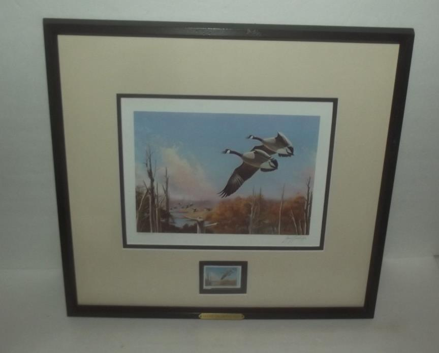 BEAUTIFUL 1987 DUCKS UNLIMITED FRAMED STAMP SIGNED NUMBERED PRINT CANADIAN GEESE